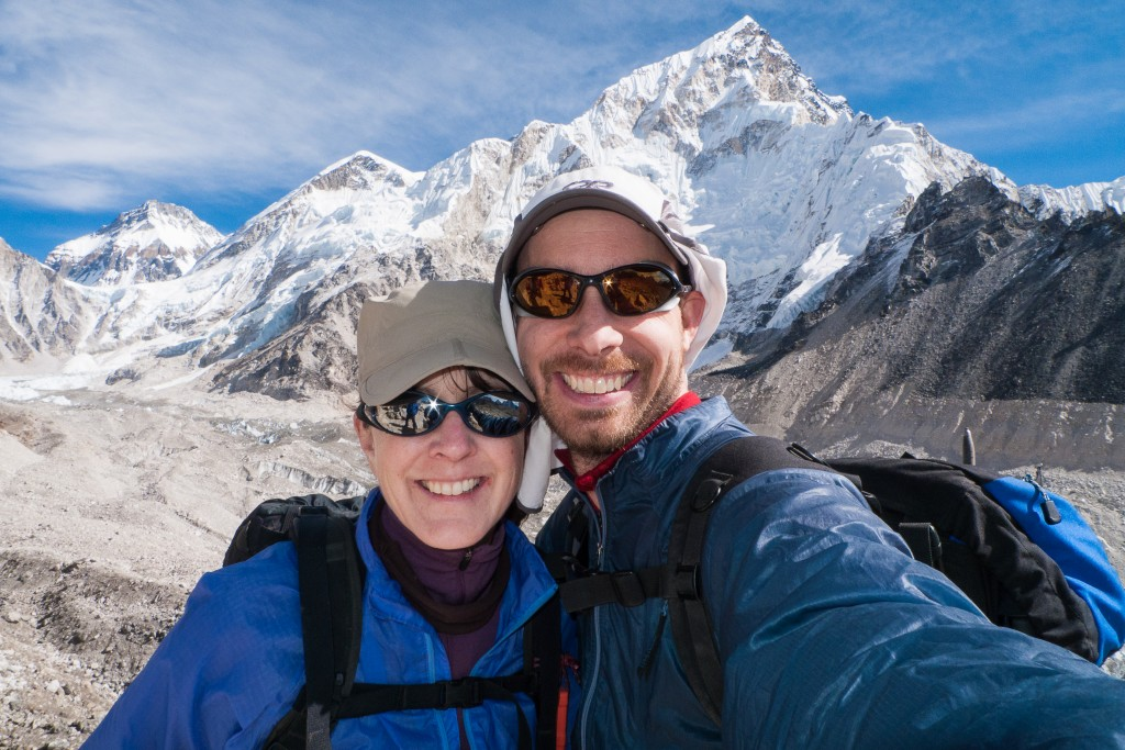 Anne and Nate near Everest Base Camp in Nepal.